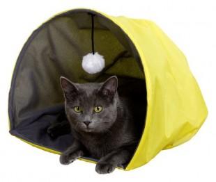 """Pelíšek - """"jeskyně"""" pro kočky s hračkou žlutý"""