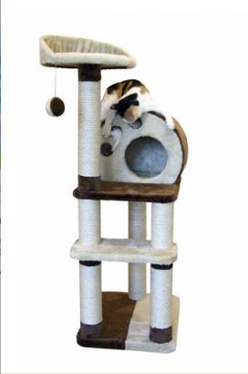 Odpočívadlo PLANET X pro kočky hnědo/béžové 50x40x127cm