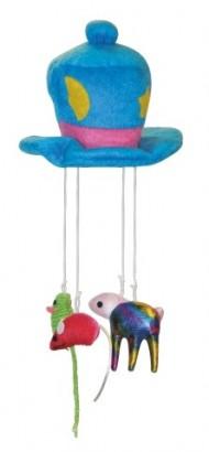 Hračka klobouk na laně pro kočky 16cm