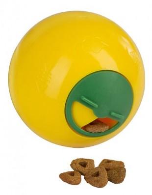 Hračka míček na pamlsky pro kočky 7,5cm žlutý
