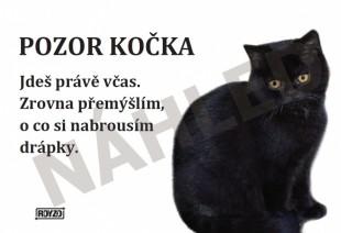 """Výstražná tabulka """"KOČKA ČERNÁ"""""""