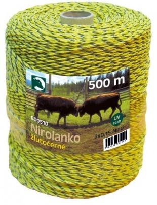 Ohradníkové nirolanko žlutočerné 1,5mm/500m
