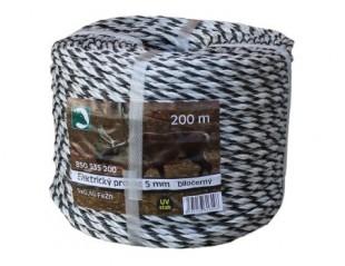 Ohradníkový provaz PP bíločerný 5mm/200m