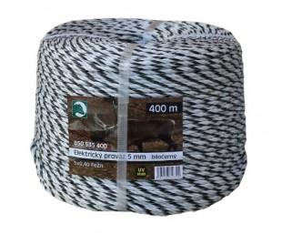 Ohradníkový provaz  PP bíločerný 5mm/400m
