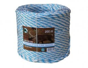 Ohradníkový provaz PP bílomodrý 6mm/200m