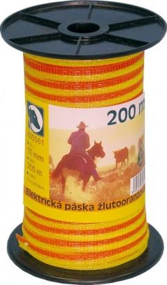 Ohradníková páska žlutooranžová 10mm/200m