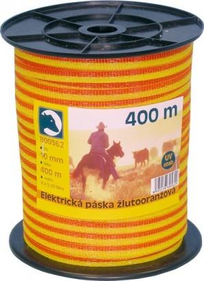 Ohradníková páska žlutooranžová 10mm/400m