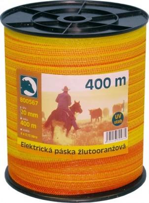 Ohradníková páska žlutooranžová 20mm/400m