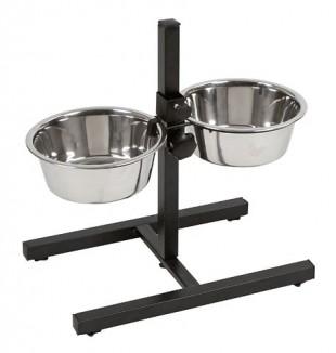 Nerezová dvojmiska pro psy na stojánku 2x1800ml