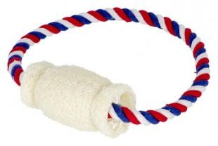 Hračka bavlněná lufa na laně