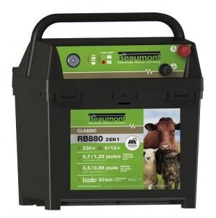 Elektrický ohradník bateriový BEAUMONT RB880 3v1 9V,12V,230V/0,5J-0,98J