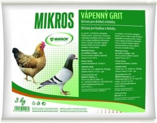 MIKROP Mikros Vápenný grit pro drůbež a holuby, 3kg