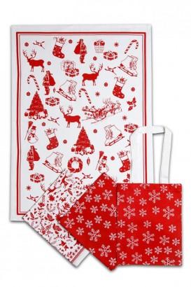 Utěrky v plátěné tašce 3ks - Vánoční vzor