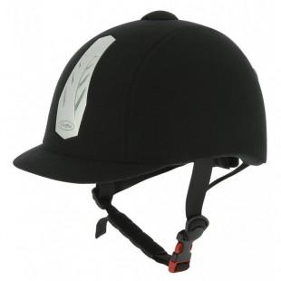 Jezdecká helma CHOPLIN Aero stavitelná černá, stříbrný štítek