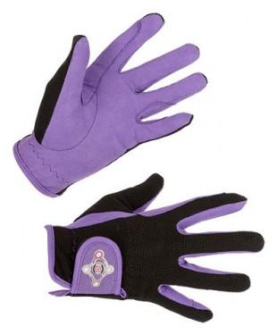 Jezdecké rukavice COVALLIERO Lilly dětské černo/fial. L