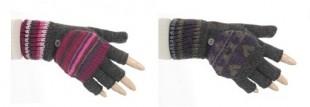 Rukavice bez konečků s převlekem vzory dámské fialové