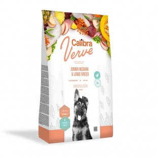 CALIBRA Dog Verve GF Junior M&L Chicken&Duck pro mladé psy středních a velkých plemen
