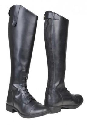 Jezdecké boty HKM New Fashion dámské syntetické krátké/široké lýtko černé