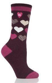 Ponožky Heat Holders Lite dámské 37-41 Srdce vínové