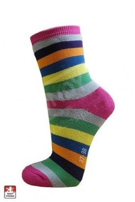 Ponožky PONDY dámské froté PRUHY různobarevné