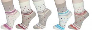 Ponožky PONDY elastické vzorované dámské různé barvy