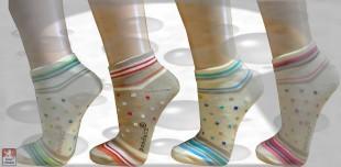 Ponožky snížené PONDY elastické vzorované dámské různé barvy