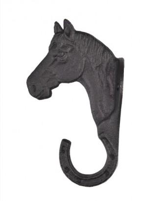 Věšák na uzdečky HKM hlava koně přímý litinový černý