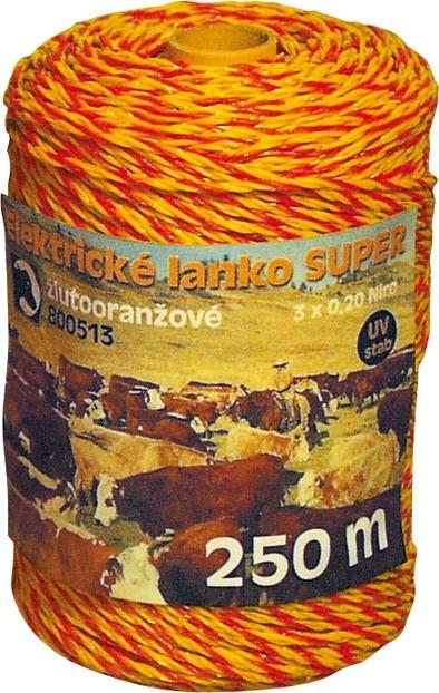 Nirolanko Super 3mm pro ohradníky žlutooranžové 250m