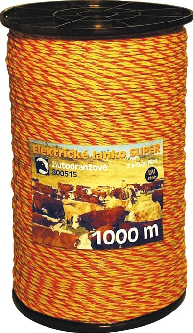 Nirolanko Super 3mm pro ohradníky žlutooranžové 1000m