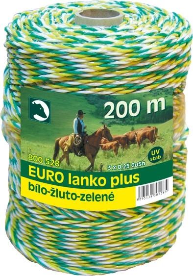 Eurolanko 3mm pro ohradníky bílo-žluto-zelené 200m