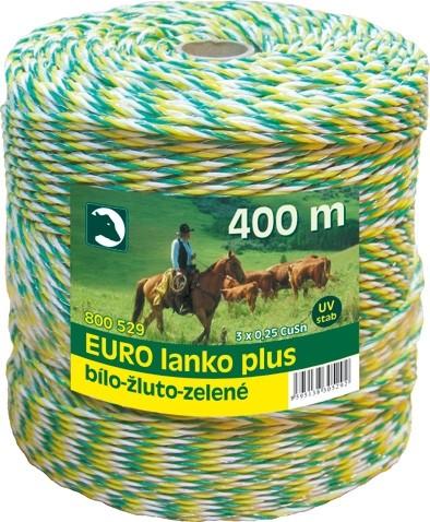 Eurolanko 3mm pro ohradníky bílo-žluto-zelené 400m