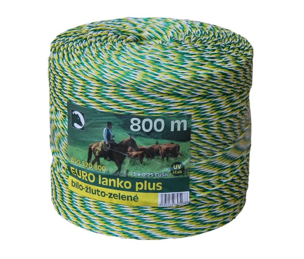 Eurolanko 3mm pro ohradníky bílo-žluto-zelené 800m