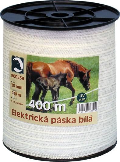 Elektrická páska STANDARD bílá 20mm/400m