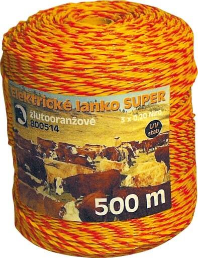 Nirolanko Super 3mm pro ohradníky žlutooranžové