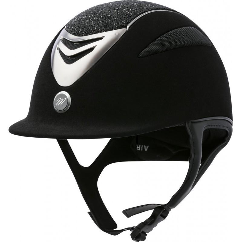 Jezdecká  přilba EQUIT'M Air  umělý semiš/glitry černá  - 1