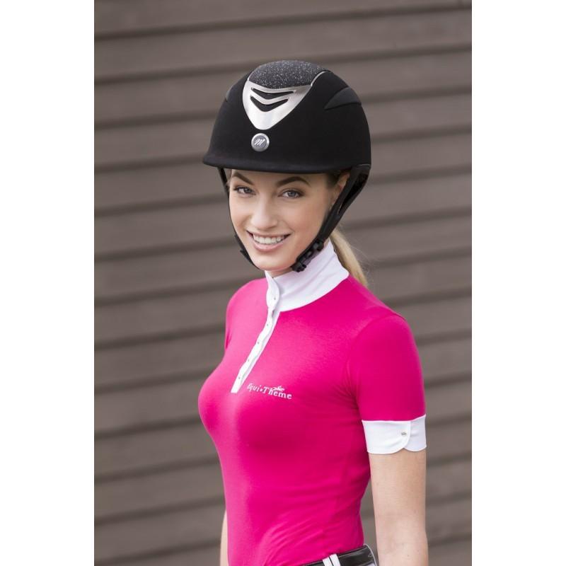 Jezdecká  přilba EQUIT'M Air  umělý semiš/glitry černá  - 3