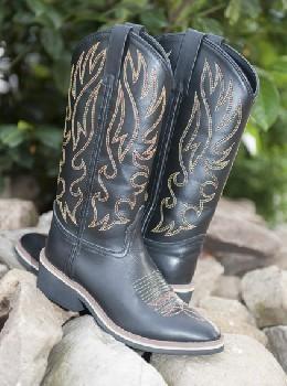 Westernové boty HKM Montana kožené černé